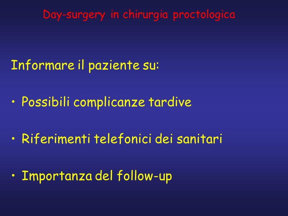 Informare il paziente su: Possibili complicanze tardive Riferimenti telefonici dei sanitari Importanza del follow-up Day-surgery in chirurgia proctolo