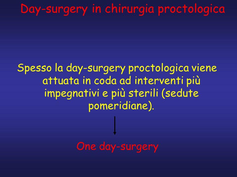 Spesso la day-surgery proctologica viene attuata in coda ad interventi più impegnativi e più sterili (sedute pomeridiane). One day-surgery Day-surgery