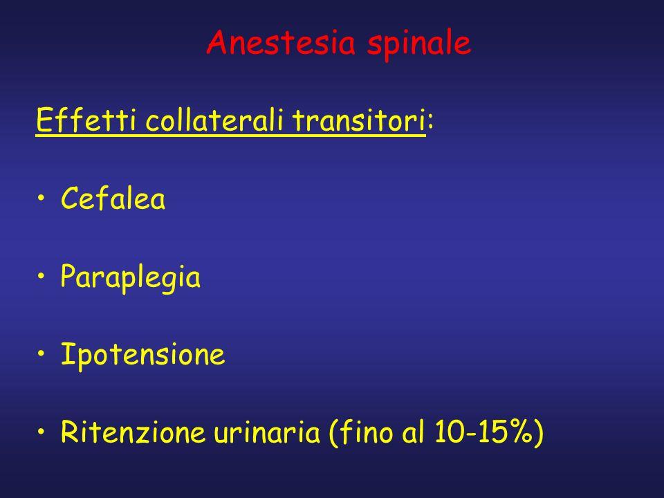 Anestesia spinale Effetti collaterali transitori: Cefalea Paraplegia Ipotensione Ritenzione urinaria (fino al 10-15%)