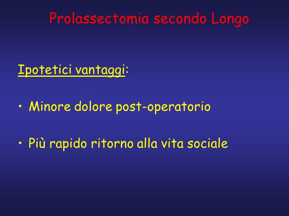 Prolassectomia secondo Longo Ipotetici vantaggi: Minore dolore post-operatorio Più rapido ritorno alla vita sociale