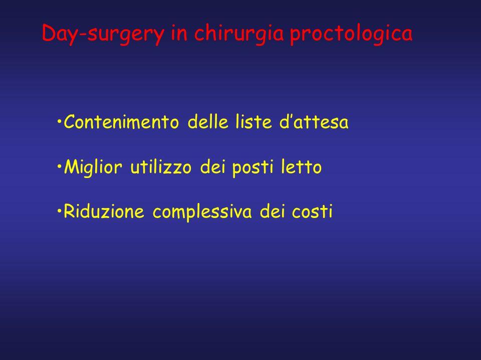 Day-surgery in chirurgia proctologica Contenimento delle liste dattesa Miglior utilizzo dei posti letto Riduzione complessiva dei costi