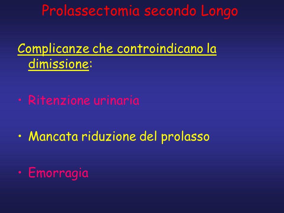 Complicanze che controindicano la dimissione: Ritenzione urinaria Mancata riduzione del prolasso Emorragia