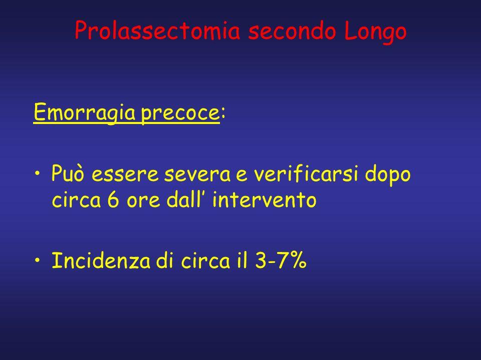 Prolassectomia secondo Longo Emorragia precoce: Può essere severa e verificarsi dopo circa 6 ore dall intervento Incidenza di circa il 3-7%