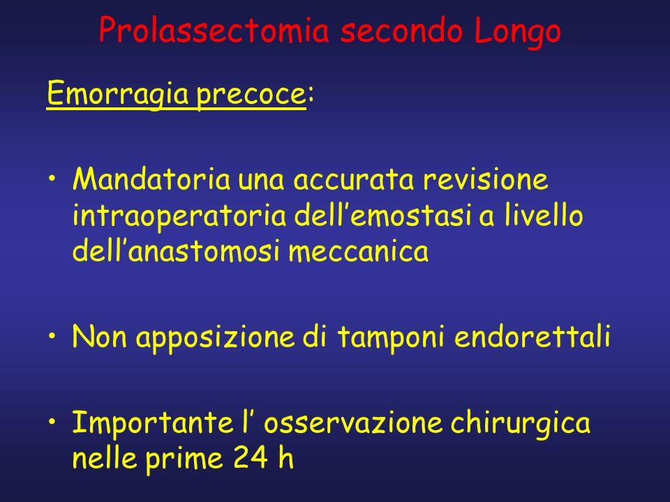 Prolassectomia secondo Longo Emorragia precoce: Mandatoria una accurata revisione intraoperatoria dellemostasi a livello dellanastomosi meccanica Non