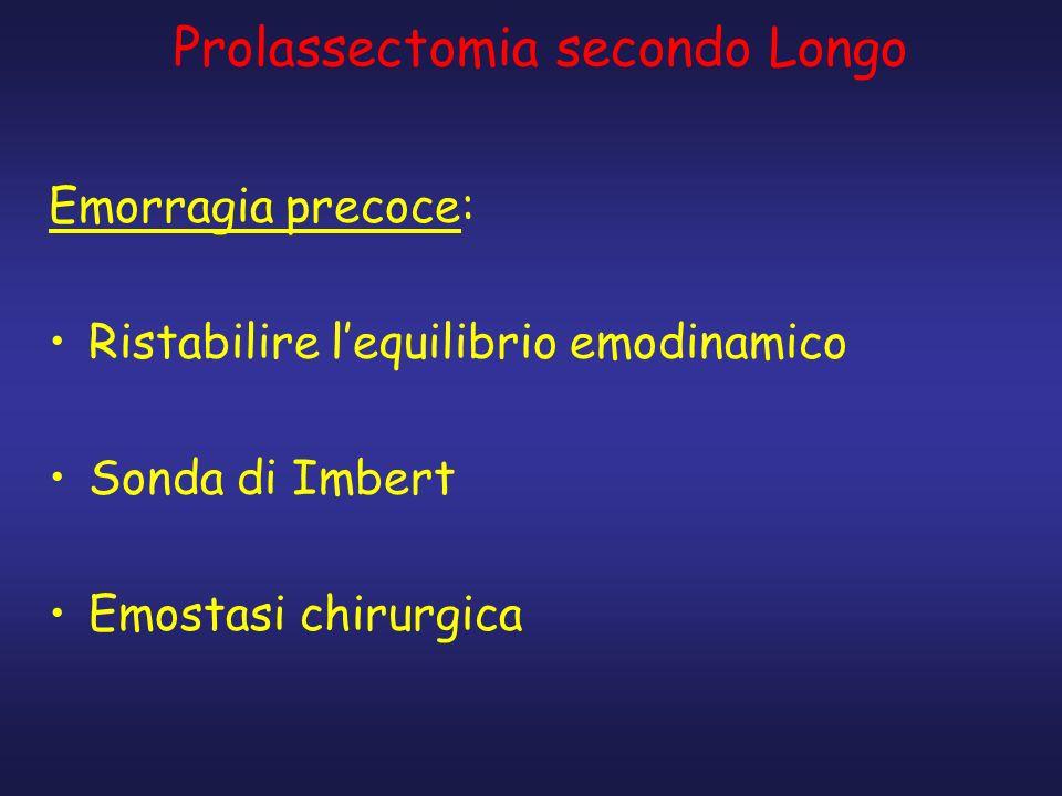 Prolassectomia secondo Longo Emorragia precoce: Ristabilire lequilibrio emodinamico Sonda di Imbert Emostasi chirurgica