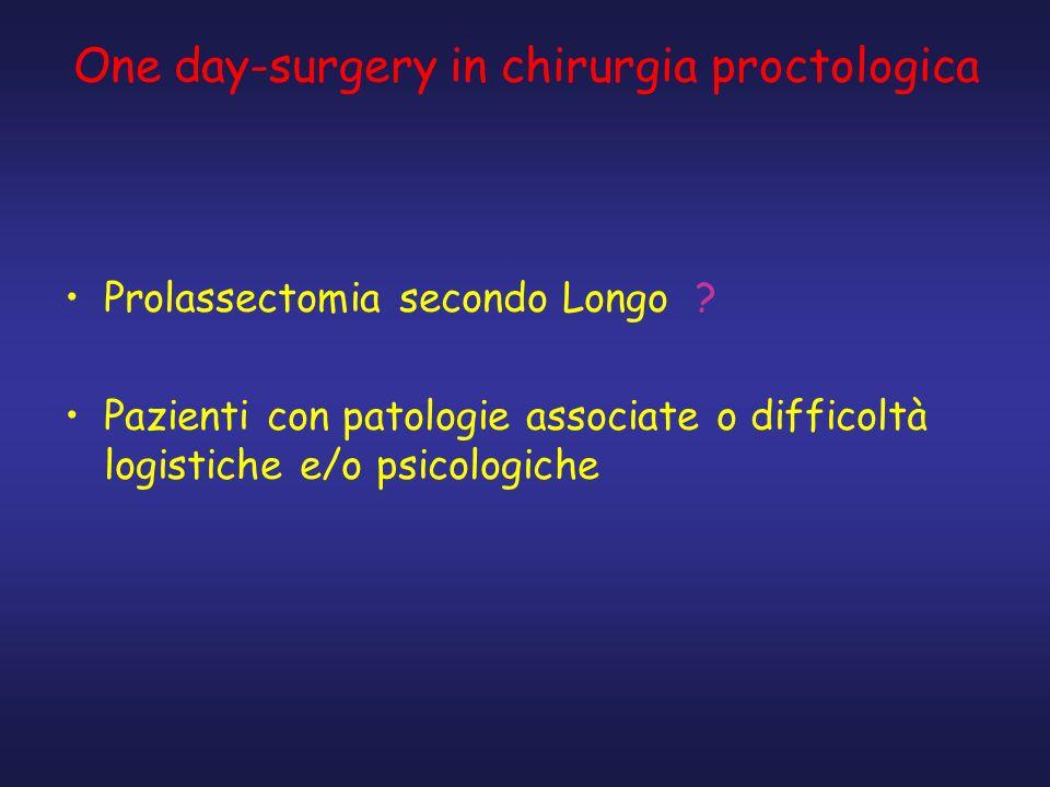 One day-surgery in chirurgia proctologica Prolassectomia secondo Longo ? Pazienti con patologie associate o difficoltà logistiche e/o psicologiche