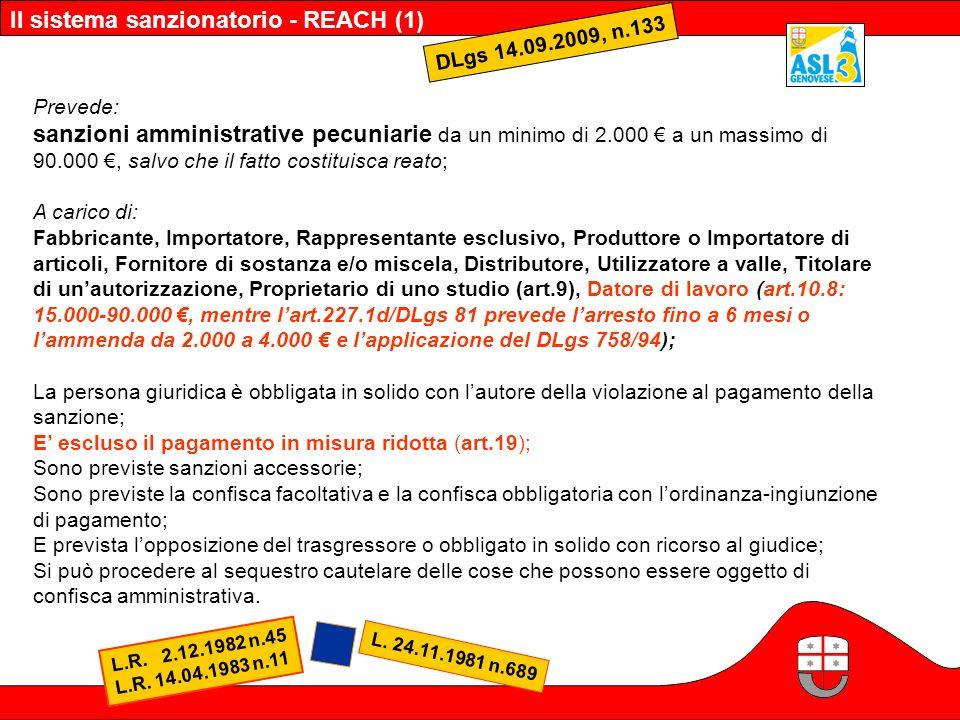 Il sistema sanzionatorio - REACH (1) DLgs 14.09.2009, n.133 Prevede: sanzioni amministrative pecuniarie da un minimo di 2.000 a un massimo di 90.000,