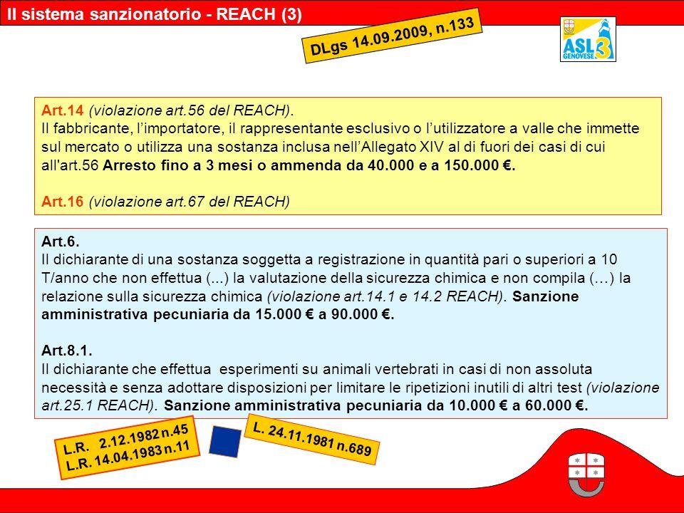 Il sistema sanzionatorio - REACH (3) DLgs 14.09.2009, n.133 Art.6. Il dichiarante di una sostanza soggetta a registrazione in quantità pari o superior