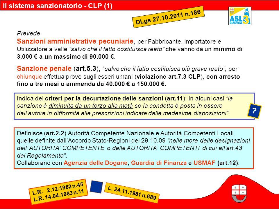 Il sistema sanzionatorio - CLP (1) DLgs 27.10.2011 n.186 Prevede Sanzioni amministrative pecuniarie, per Fabbricante, Importatore e Utilizzatore a val