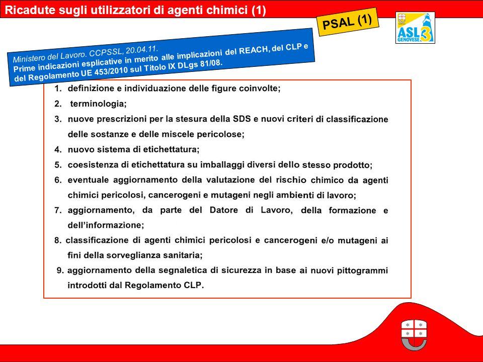 Ricadute sugli utilizzatori di agenti chimici (1) PSAL (1) Ministero del Lavoro. CCPSSL, 20.04.11. Prime indicazioni esplicative in merito alle implic