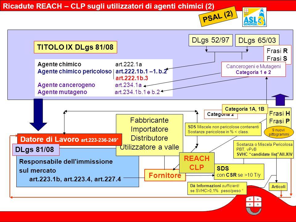 PSAL (2) TITOLO IX DLgs 81/08 DLgs 52/97 DLgs 65/03 Responsabile dell'immissione sul mercato art.223.1b, art.223.4, art.227.4 SDS con CSR se >10 T/y F