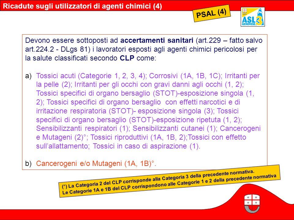PSAL (4) Devono essere sottoposti ad accertamenti sanitari (art.229 – fatto salvo art.224.2 - DLgs 81) i lavoratori esposti agli agenti chimici perico
