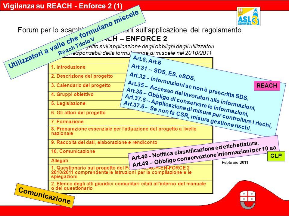 Forum per lo scambio d'informazioni sull'applicazione del regolamento REACH – ENFORCE 2 Manuale del progetto sull'applicazione degli obblighi degli ut