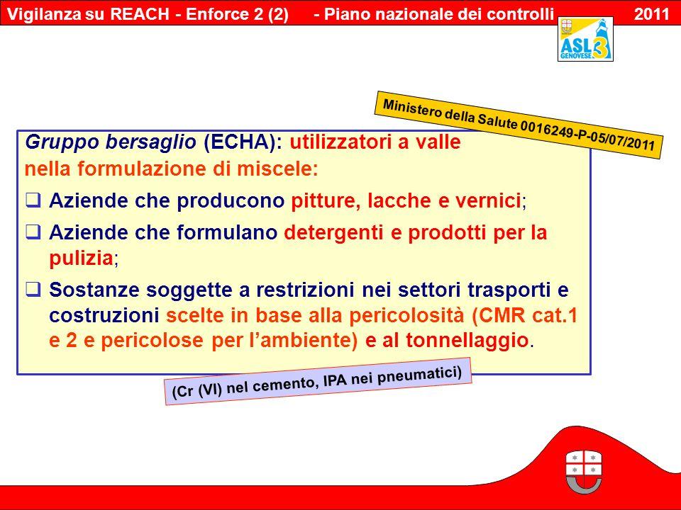 - Piano nazionale dei controlli 2011 Gruppo bersaglio (ECHA): utilizzatori a valle nella formulazione di miscele: Aziende che producono pitture, lacch