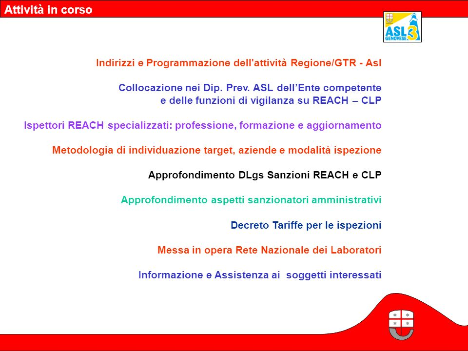Attività in corso Indirizzi e Programmazione dell'attività Regione/GTR - Asl Collocazione nei Dip. Prev. ASL dellEnte competente e delle funzioni di v