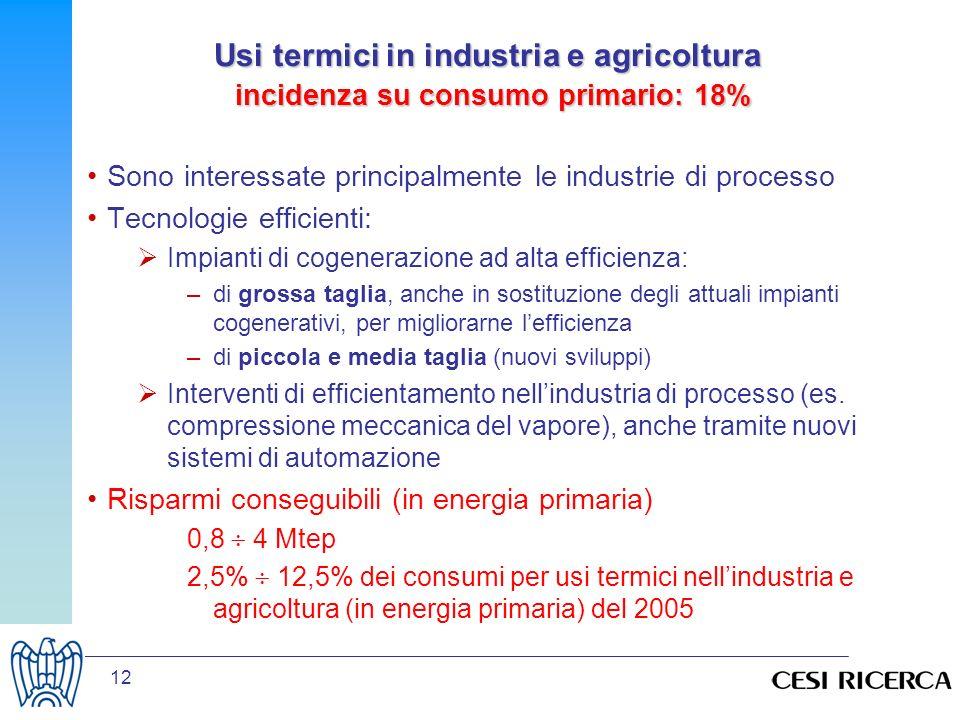 12 Usi termici in industria e agricoltura incidenza su consumo primario: 18% Sono interessate principalmente le industrie di processo Tecnologie effic