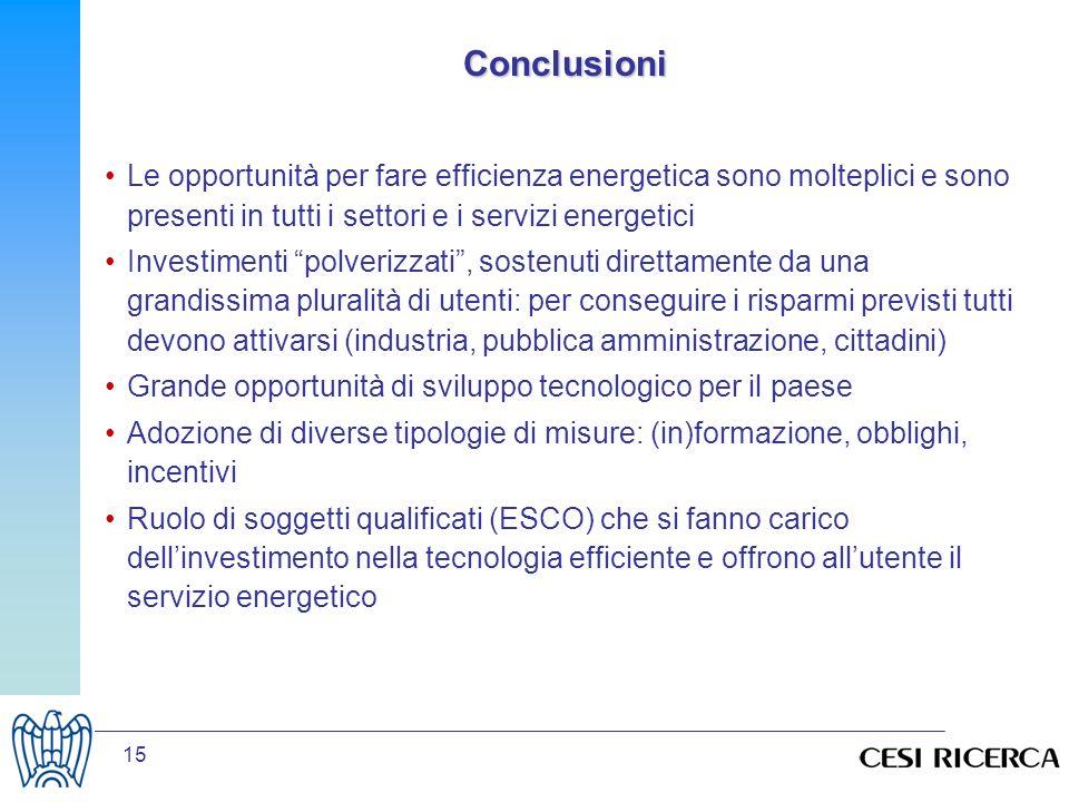 15 Conclusioni Le opportunità per fare efficienza energetica sono molteplici e sono presenti in tutti i settori e i servizi energetici Investimenti po
