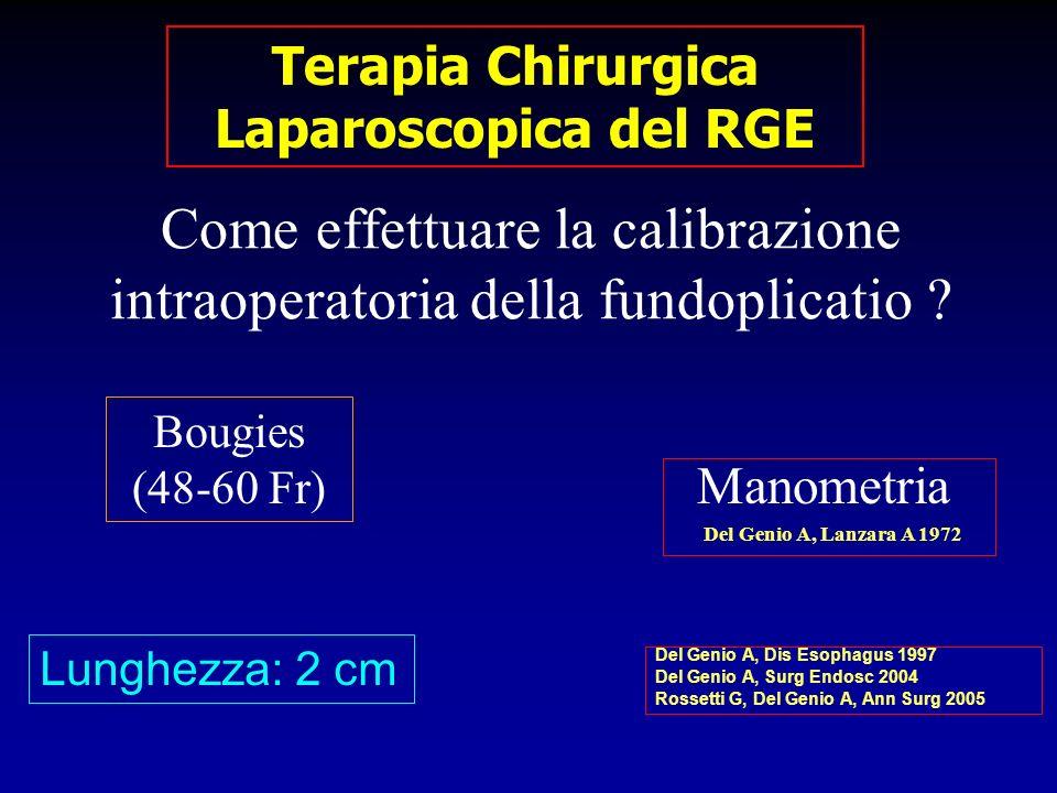 Come effettuare la calibrazione intraoperatoria della fundoplicatio ? Bougies (48-60 Fr) Lunghezza: 2 cm Manometria Del Genio A, Lanzara A 1972 Del Ge