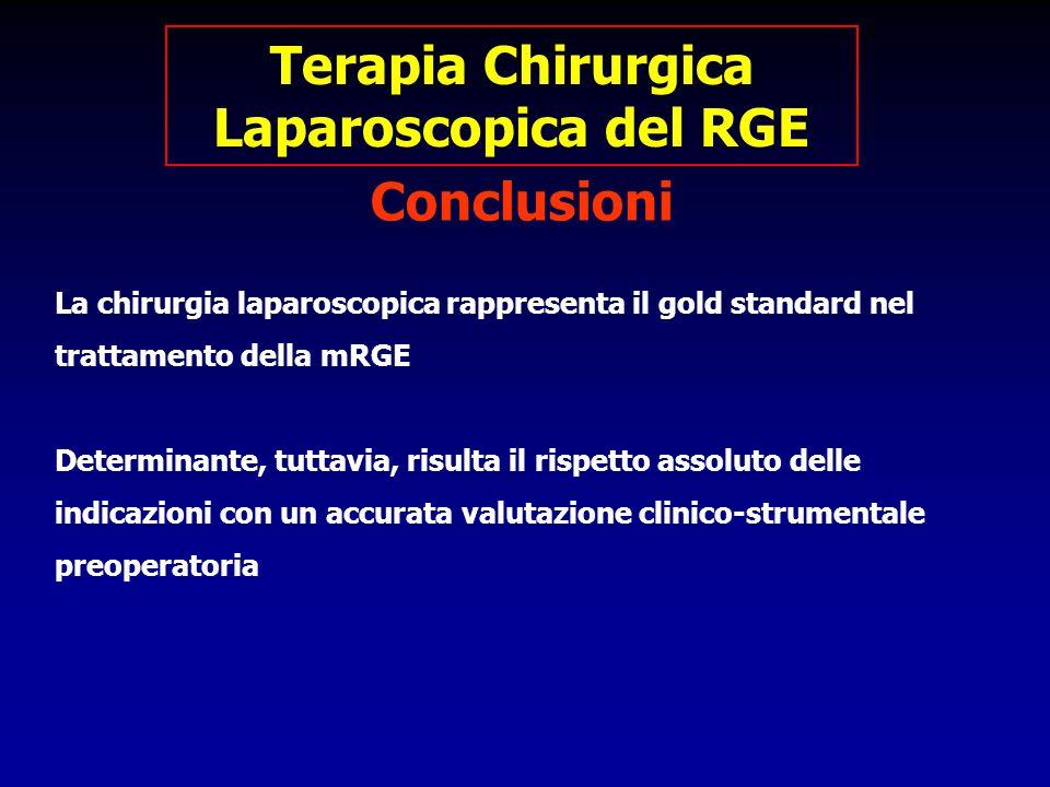 La chirurgia laparoscopica rappresenta il gold standard nel trattamento della mRGE Determinante, tuttavia, risulta il rispetto assoluto delle indicazi