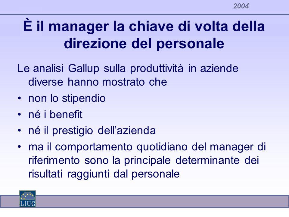 2004 È il manager la chiave di volta della direzione del personale Le analisi Gallup sulla produttività in aziende diverse hanno mostrato che non lo s