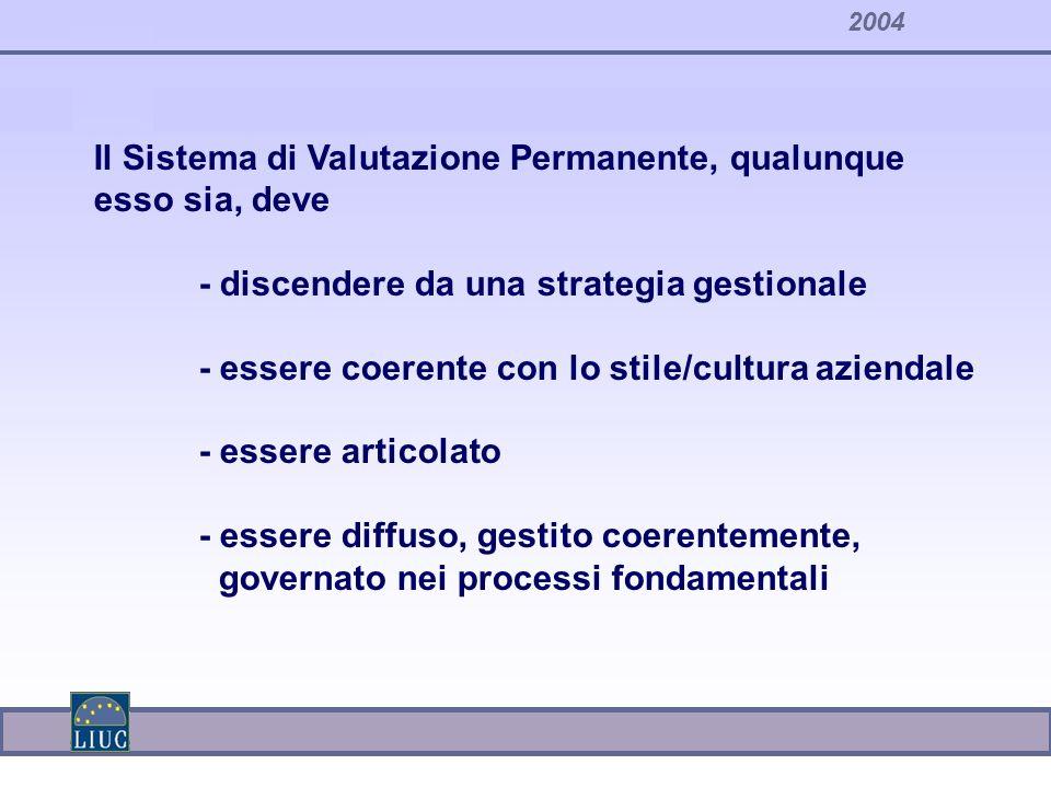 Il Sistema di Valutazione Permanente, qualunque esso sia, deve - discendere da una strategia gestionale - essere coerente con lo stile/cultura azienda