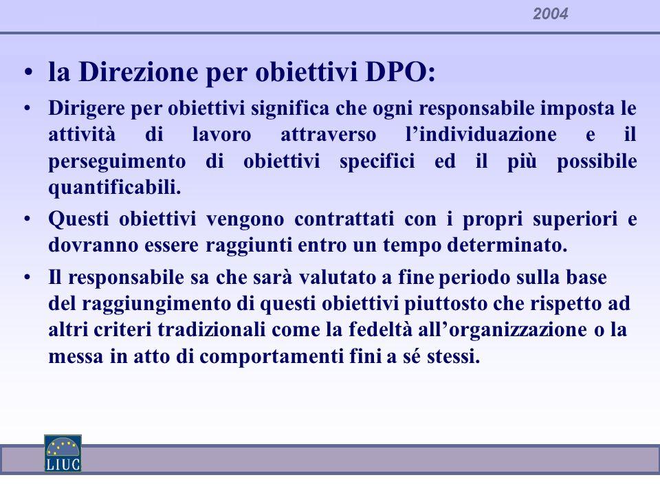 la Direzione per obiettivi DPO: Dirigere per obiettivi significa che ogni responsabile imposta le attività di lavoro attraverso lindividuazione e il p