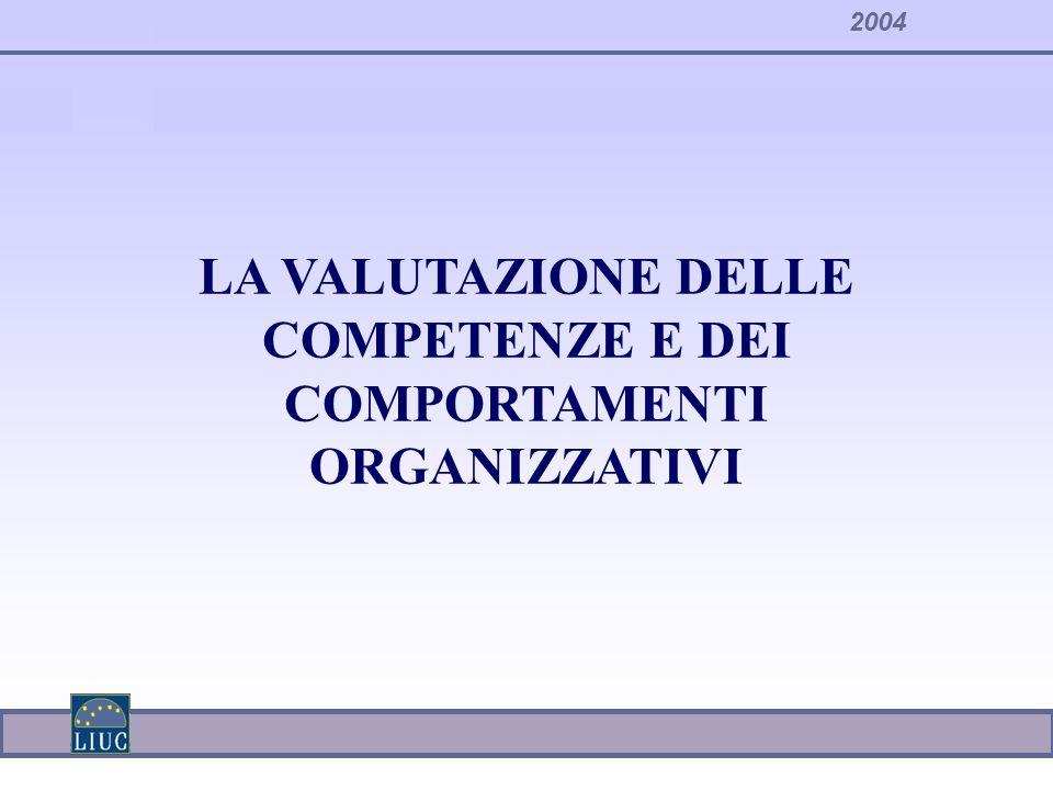 2004 LA VALUTAZIONE DELLE COMPETENZE E DEI COMPORTAMENTI ORGANIZZATIVI