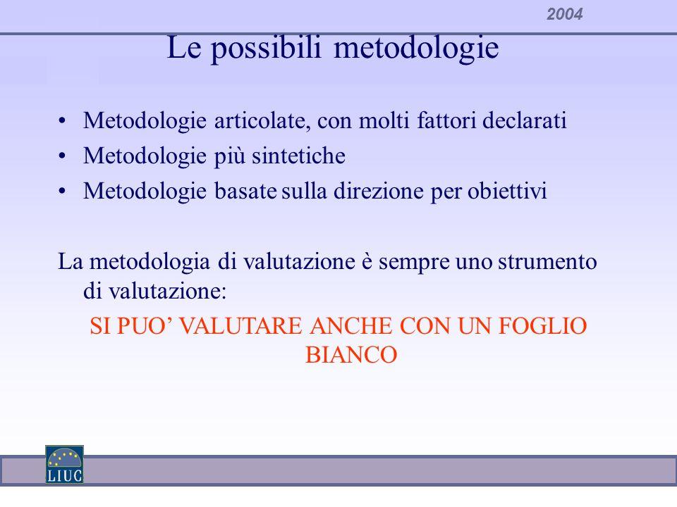 Le possibili metodologie Metodologie articolate, con molti fattori declarati Metodologie più sintetiche Metodologie basate sulla direzione per obietti