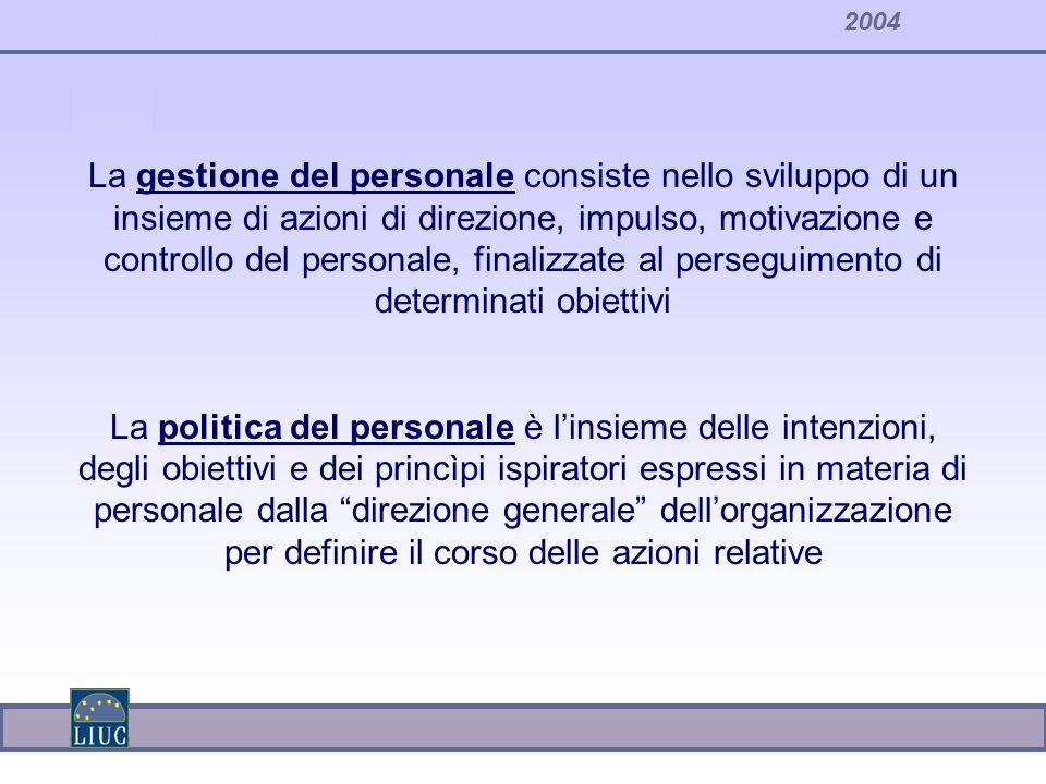 2004 La gestione del personale consiste nello sviluppo di un insieme di azioni di direzione, impulso, motivazione e controllo del personale, finalizza