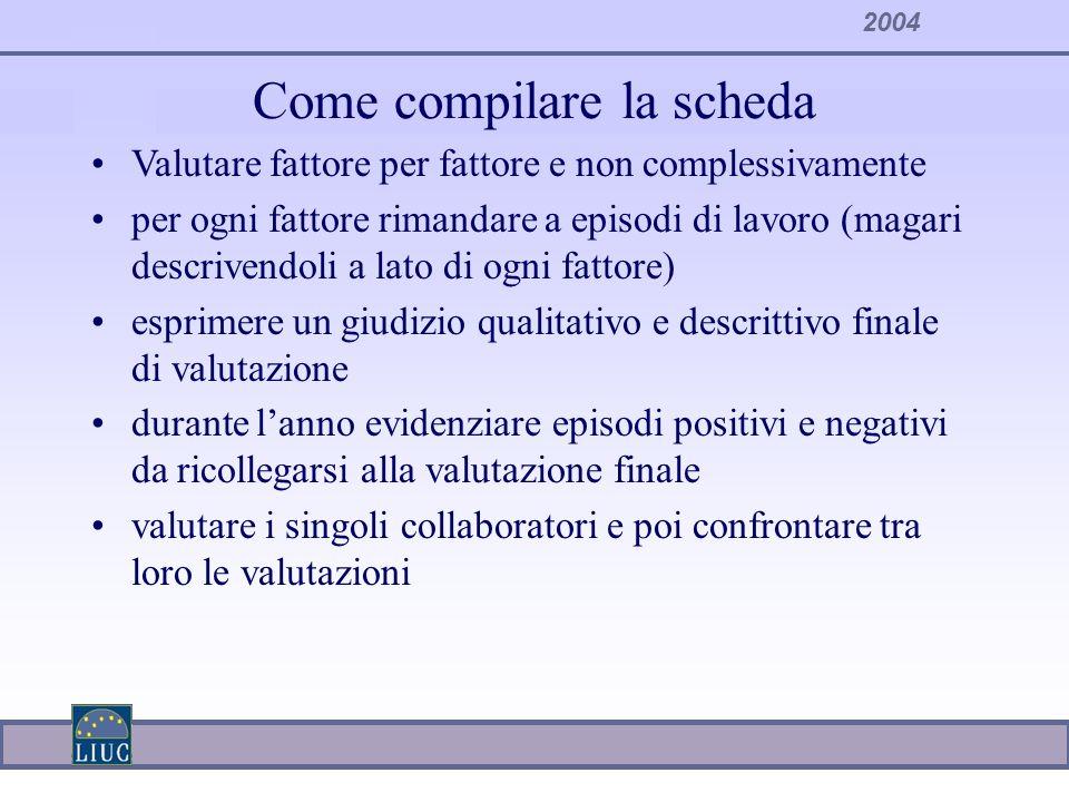 2004 Come compilare la scheda Valutare fattore per fattore e non complessivamente per ogni fattore rimandare a episodi di lavoro (magari descrivendoli