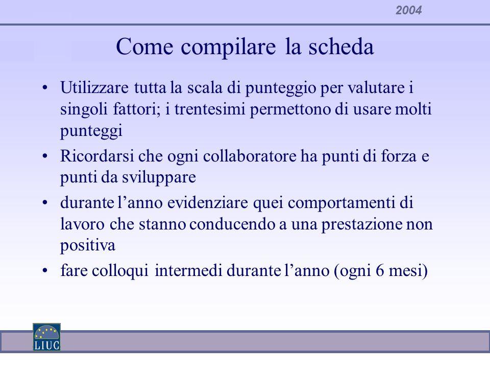 2004 Come compilare la scheda Utilizzare tutta la scala di punteggio per valutare i singoli fattori; i trentesimi permettono di usare molti punteggi R