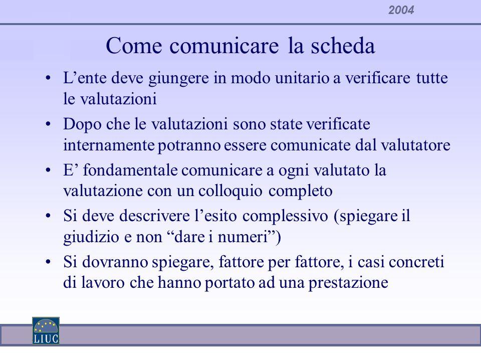 2004 Come comunicare la scheda Lente deve giungere in modo unitario a verificare tutte le valutazioni Dopo che le valutazioni sono state verificate in