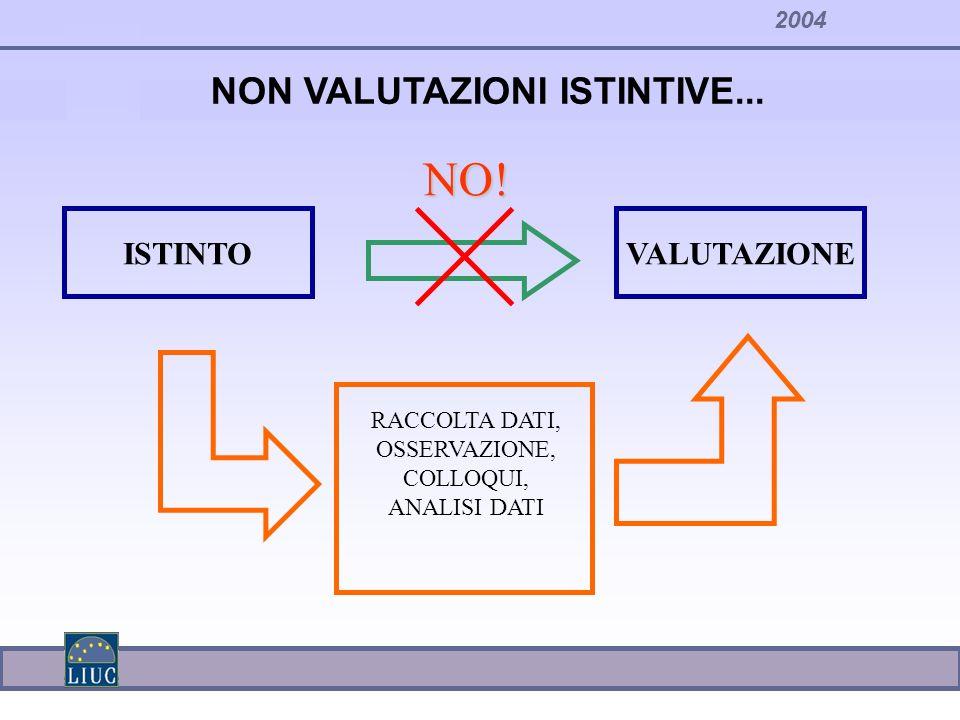 2004 NON VALUTAZIONI ISTINTIVE... ISTINTOVALUTAZIONE NO! RACCOLTA DATI, OSSERVAZIONE, COLLOQUI, ANALISI DATI