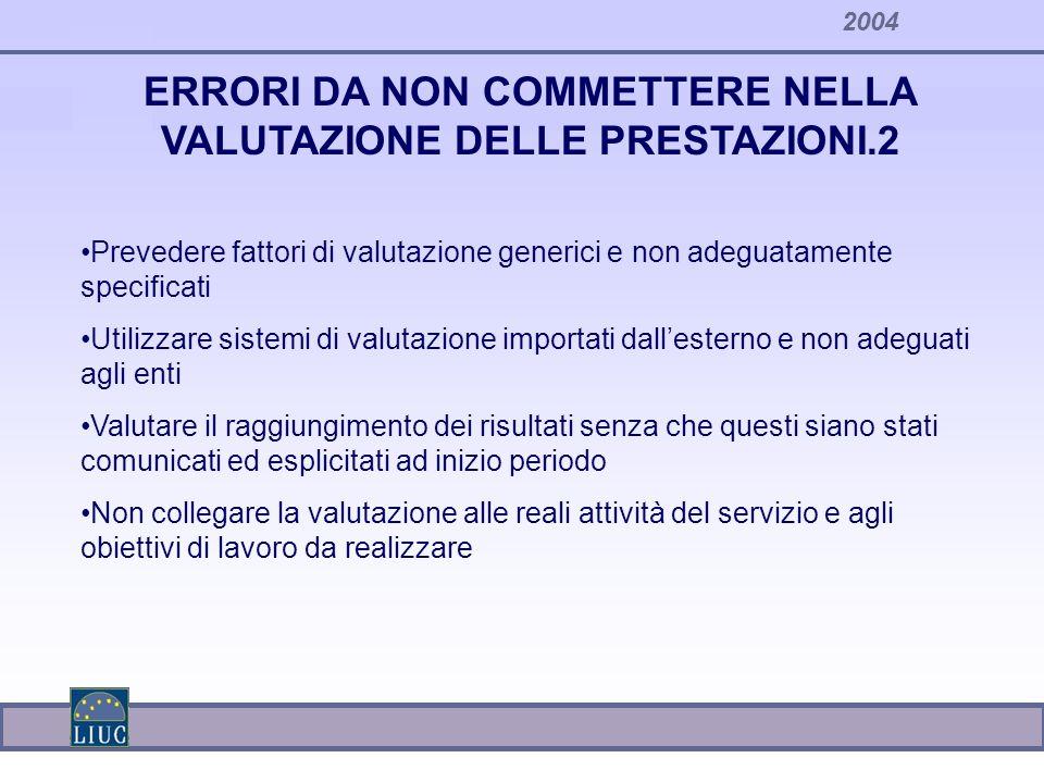 2004 ERRORI DA NON COMMETTERE NELLA VALUTAZIONE DELLE PRESTAZIONI.2 Prevedere fattori di valutazione generici e non adeguatamente specificati Utilizza