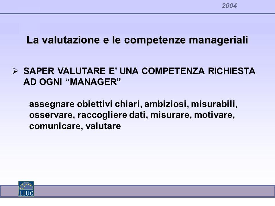 2004 SAPER VALUTARE E UNA COMPETENZA RICHIESTA AD OGNI MANAGER assegnare obiettivi chiari, ambiziosi, misurabili, osservare, raccogliere dati, misurar