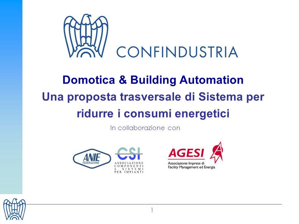 1 Domotica & Building Automation Una proposta trasversale di Sistema per ridurre i consumi energetici In collaborazione con