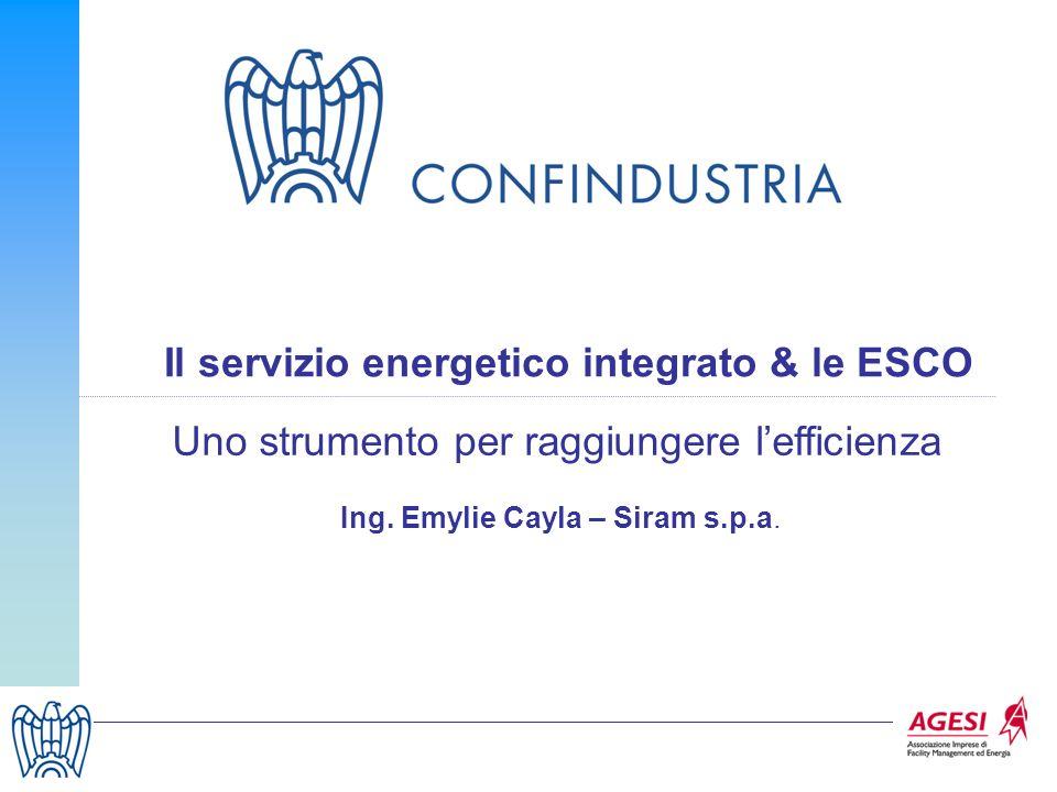 17 Il servizio energetico integrato & le ESCO Uno strumento per raggiungere lefficienza Ing. Emylie Cayla – Siram s.p.a.