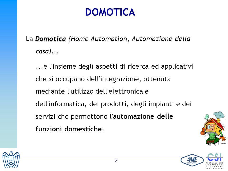 2 DOMOTICA Domotica La Domotica (Home Automation, Automazione della casa)......è l'insieme degli aspetti di ricerca ed applicativi che si occupano del