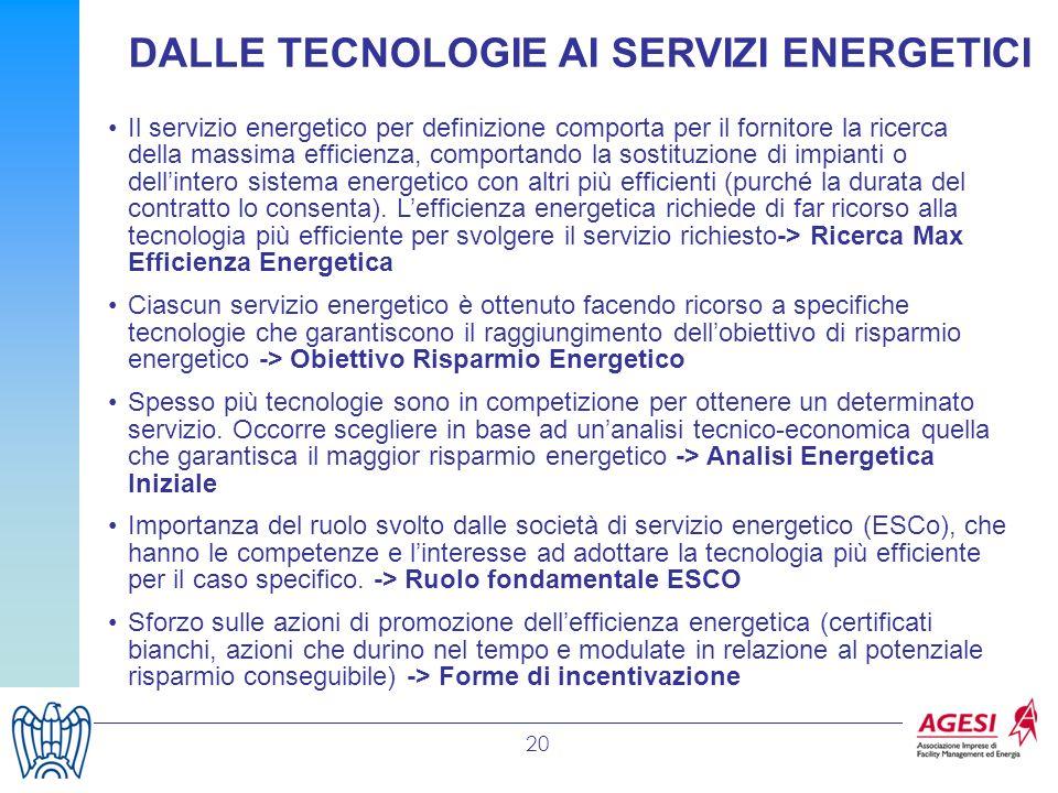 20 DALLE TECNOLOGIE AI SERVIZI ENERGETICI Il servizio energetico per definizione comporta per il fornitore la ricerca della massima efficienza, compor