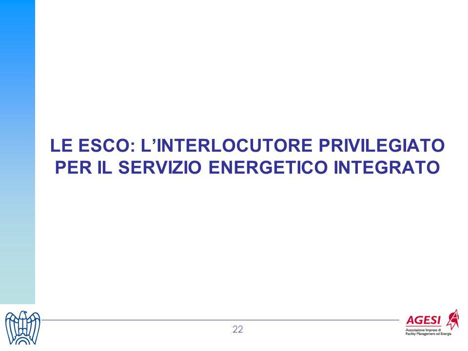 22 LE ESCO: LINTERLOCUTORE PRIVILEGIATO PER IL SERVIZIO ENERGETICO INTEGRATO