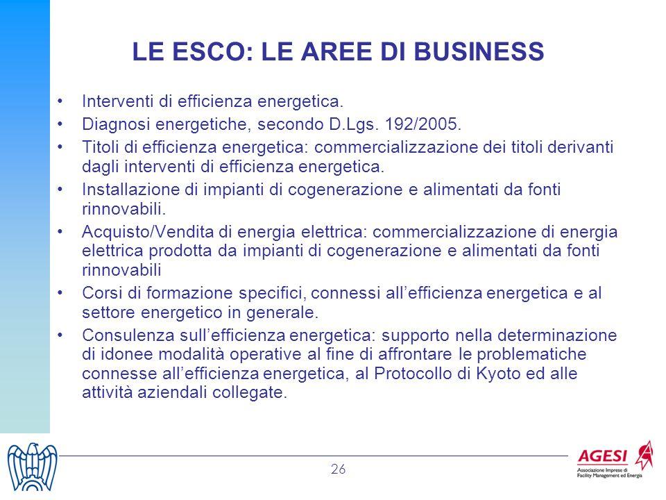 26 Interventi di efficienza energetica. Diagnosi energetiche, secondo D.Lgs. 192/2005. Titoli di efficienza energetica: commercializzazione dei titoli