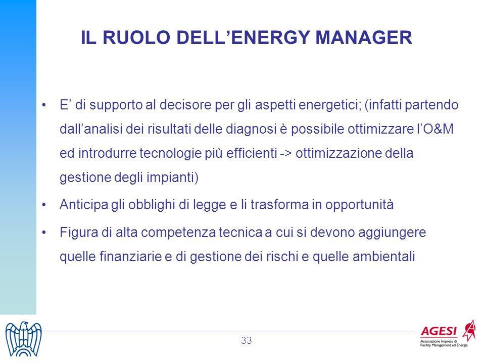 33 E di supporto al decisore per gli aspetti energetici; (infatti partendo dallanalisi dei risultati delle diagnosi è possibile ottimizzare lO&M ed in