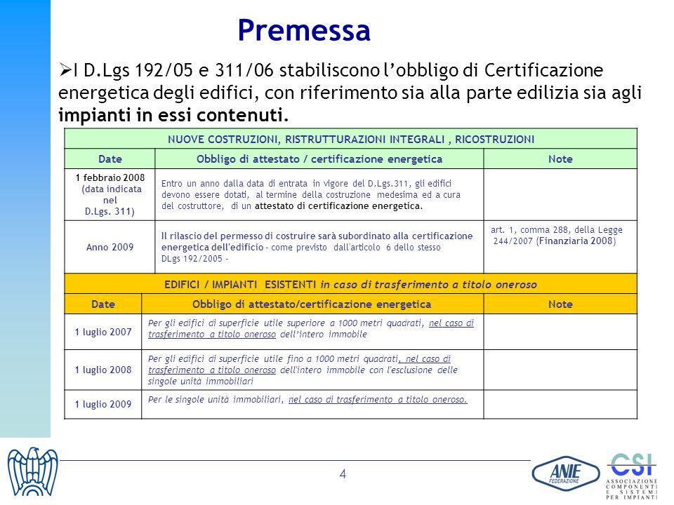 4 I D.Lgs 192/05 e 311/06 stabiliscono lobbligo di Certificazione energetica degli edifici, con riferimento sia alla parte edilizia sia agli impianti