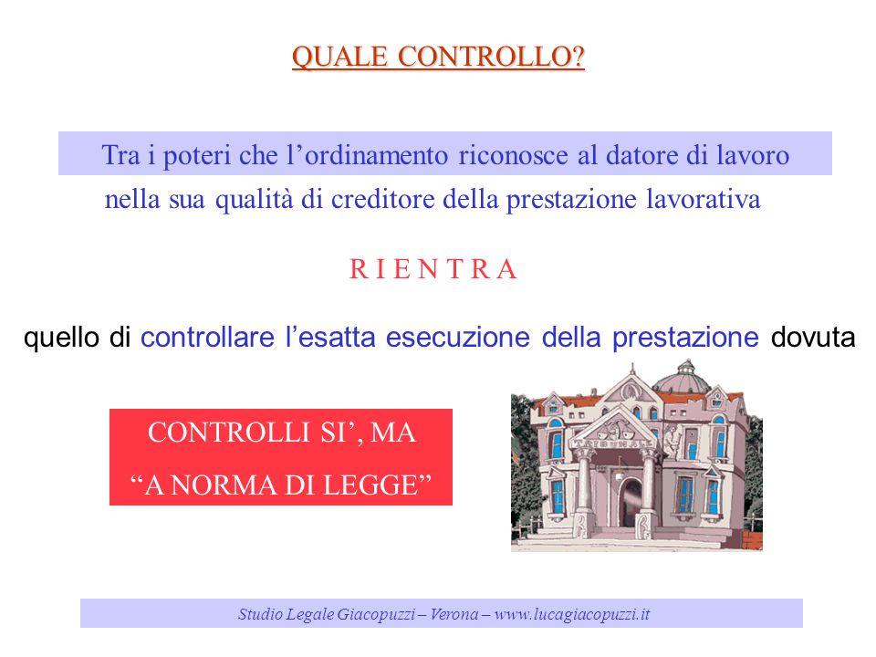 Studio Legale Giacopuzzi – Verona – www.lucagiacopuzzi.it QUALE CONTROLLO.