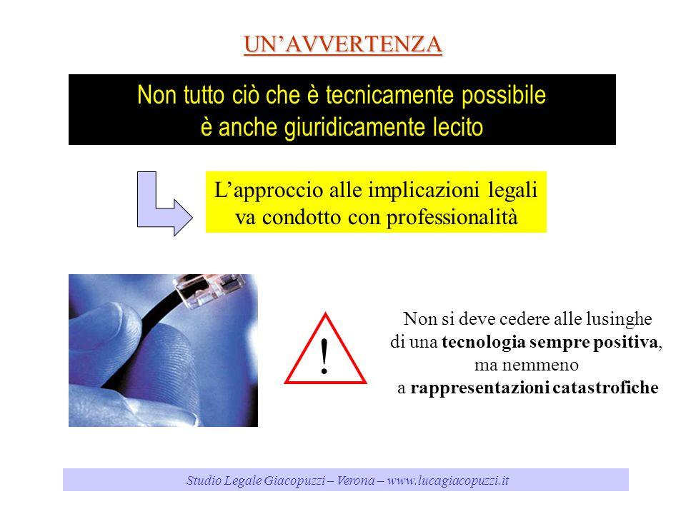 Studio Legale Giacopuzzi – Verona – www.lucagiacopuzzi.itUNAVVERTENZA Non tutto ciò che è tecnicamente possibile è anche giuridicamente lecito Lapproccio alle implicazioni legali va condotto con professionalità .