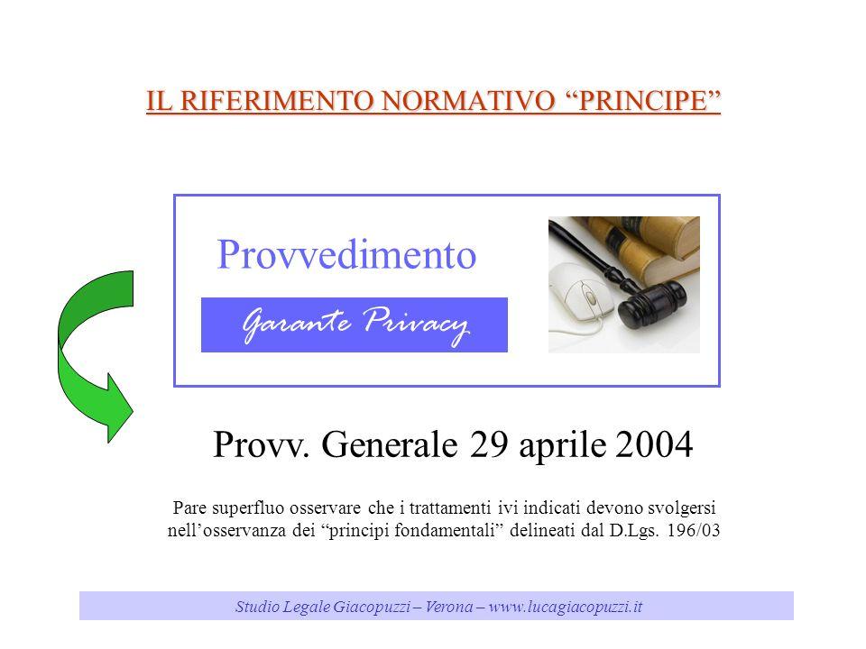 Studio Legale Giacopuzzi – Verona – www.lucagiacopuzzi.it IL RIFERIMENTO NORMATIVO PRINCIPE Provvedimento Garante Privacy Provv.