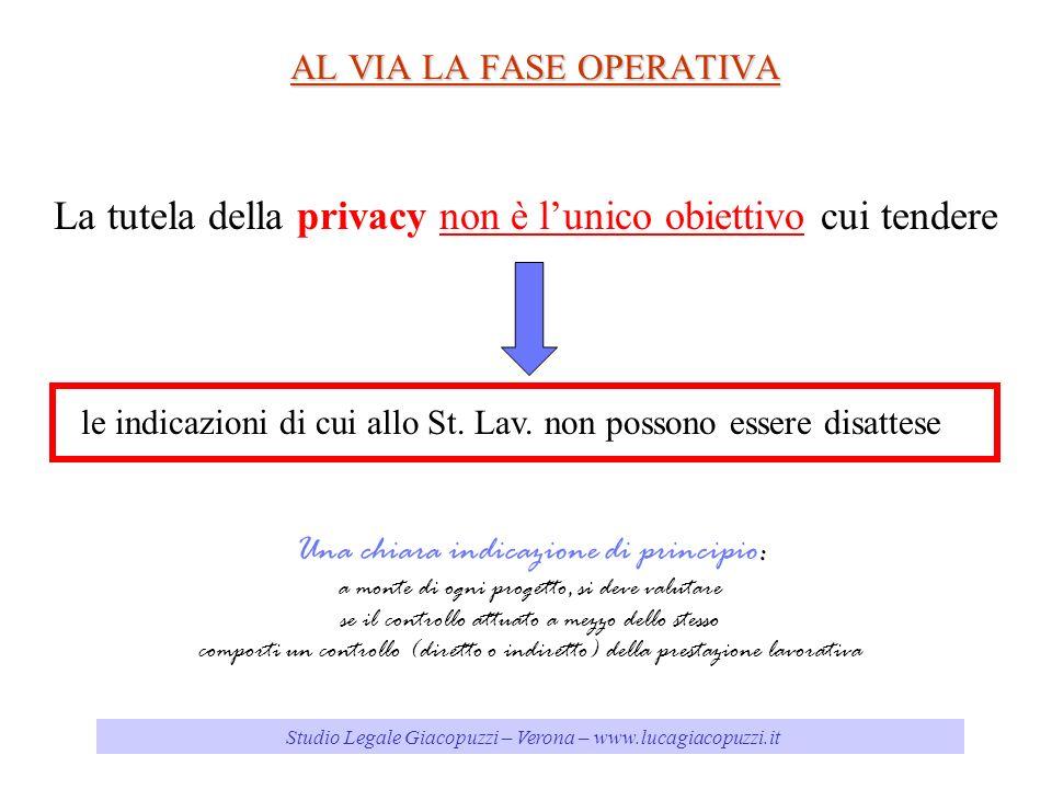 Studio Legale Giacopuzzi – Verona – www.lucagiacopuzzi.it AL VIA LA FASE OPERATIVA La tutela della privacy non è lunico obiettivo cui tendere le indicazioni di cui allo St.