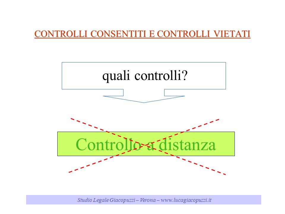 Studio Legale Giacopuzzi – Verona – www.lucagiacopuzzi.it CONTROLLI CONSENTITI E CONTROLLI VIETATI Controllo a distanza quali controlli?