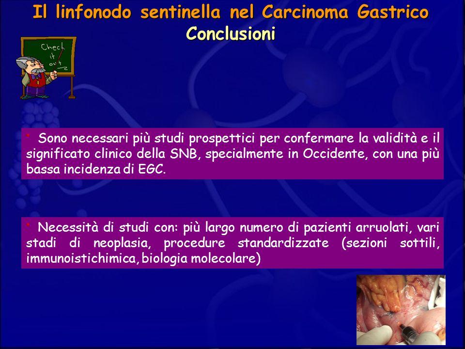 Il linfonodo sentinella nel Carcinoma Gastrico Conclusioni Sono necessari più studi prospettici per confermare la validità e il significato clinico de