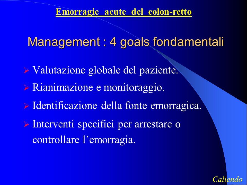 Management : 4 goals fondamentali Valutazione globale del paziente.